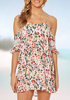 Jessica Simpson Garden Party Open Shoulder Swim Cover Up
