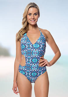 Jessica Simpson Kaleidoscope Cut-Out One Piece