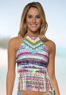 Jessica Simpson Limelight High Neck Fringe Tankini