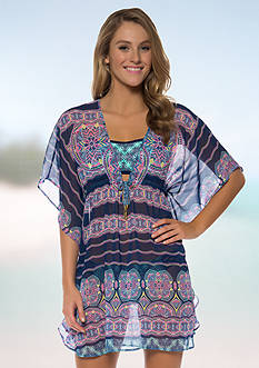 Jessica Simpson Mojave Chiffon Border Cover Up