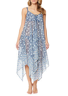 Jessica Simpson Patched Up Lace Front Chiffon Swim Cover Up Dress