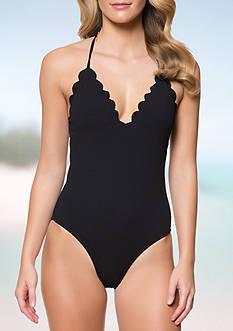 Jessica Simpson Under The Sea Scalloped Edge Halter One-Piece Swimsuit