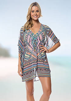 Jessica Simpson Venice Beach Chiffon Border Cover Up