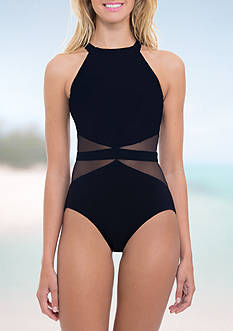 Profile by Gottex Marble High Neck One Piece Swimsuit