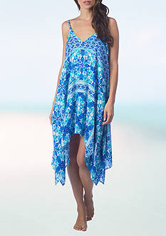 La Blanca True Blue Handkerchief Hem Swim Cover Up