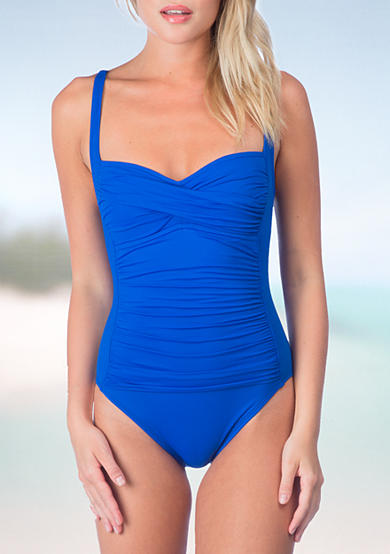 La Blanca Island Over The Shoulder Shirred One Piece