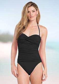 La Blanca Solid Bandeau One Piece