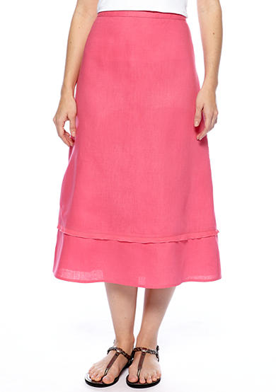 Kim Rogers® Petite Linen Tiered Skirt with Georgette Trim