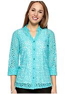 Kim Rogers® Petite Lace Button Front Shirt