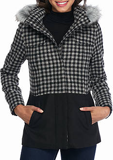 Celebrity Pink Plaid Mixed Media Coat