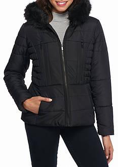 Celebrity Pink Short Puffer Fur Hood Coat