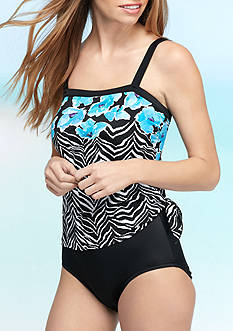 Maxine of Hollywood Zebra Garden Bandeau Fauxkini