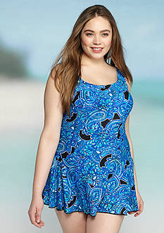 Maxine Plus Size Paisley Princess Seam Swimdress