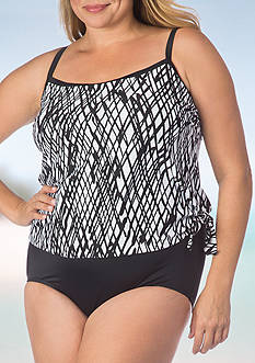 Maxine of Hollywood Plus Size Stranded Faux Tankini One Piece Swimsuit