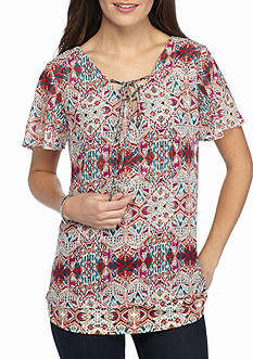 Kim Rogers Printed Short Sleeve Top