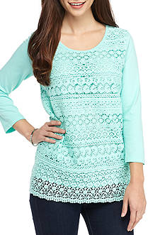 Kim Rogers 3/4 Sleeve Tiered Lace Front Top