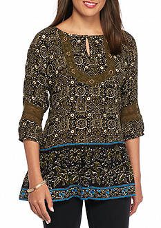 Kim Rogers Three Quarter Sleeve Print Peasant Crepon Top