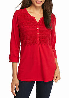Kim Rogers Three Quarter Sleeve Y-Neck Lace Yoke Top