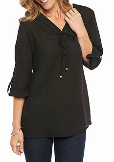 Kim Rogers 3/4 Sleeve Solid Blouse with Tie