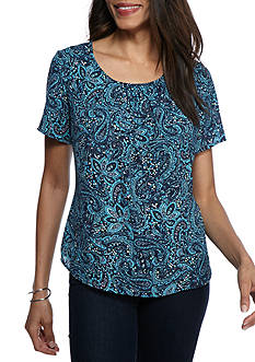 Kim Rogers Printed Short Sleeve Woven Top