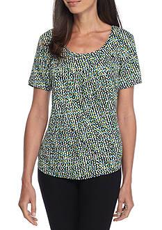 Kim Rogers Short Sleeve Printed Mixchain Shell