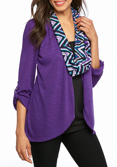 Kim Rogers® 3Fer Knit Top with Scarf