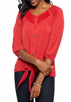 Kim Rogers 3/4 Sleeve Tie Front Top with Lace Overlay