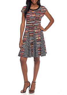 Kim Rogers Cap Sleeve Twin Print Knit Dress