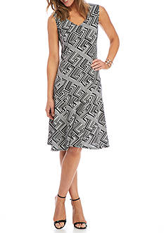 Kim Rogers Sleeveless Geo Printed Dress
