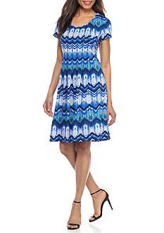Kim Rogers Petite Size Short Sleeve Pleated Chevron Dress