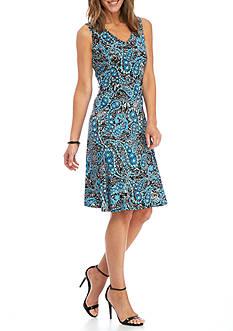 Kim Rogers Sleeveless Paisley Printed Dress