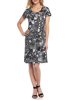 Kim Rogers Cap Sleeve Scoop Neckline Pleated Dress
