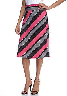 Kim Rogers® Diagonal Stripe Knit Skirt