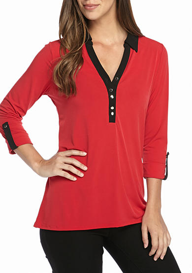 Kim Rogers® Double Button with Collar Shirt