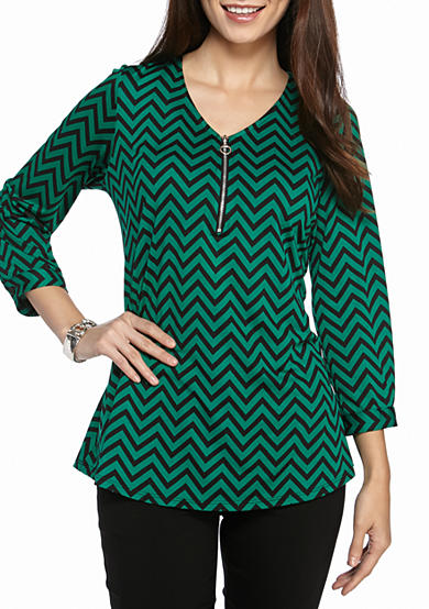 Kim Rogers® Three Quarter Sleeve Printed Zipper Pullover
