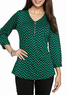 Kim Rogers Petite Three Quarter Sleeve V Neck Printed Zipper Pullover