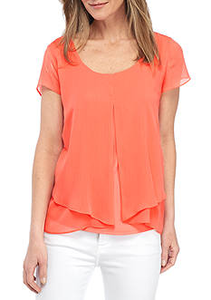 Kim Rogers® Short Sleeve Knit Chiffon Overlay Solid Top