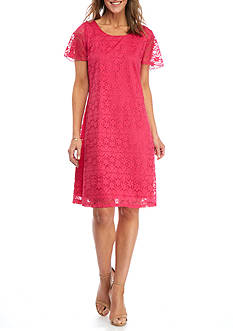 Kim Rogers Floral Lace Flutter Sleeve Dress