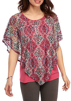 Kim Rogers® Print Lace Poncho with Center Wedge Top