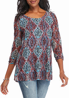 Kim Rogers 3/4 Sleeve Printed Swing Top