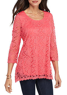 Kim Rogers 3/4 Sleeve Scallop Lace Swing Top