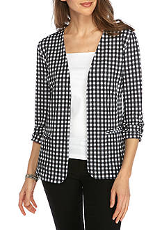 Kim Rogers Houndstooth Print Open Front Jacket