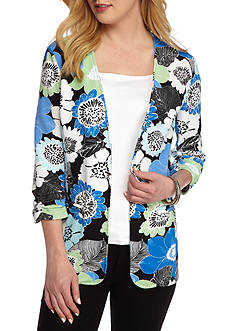 Kim Rogers Open Front Floral Knit Jacket