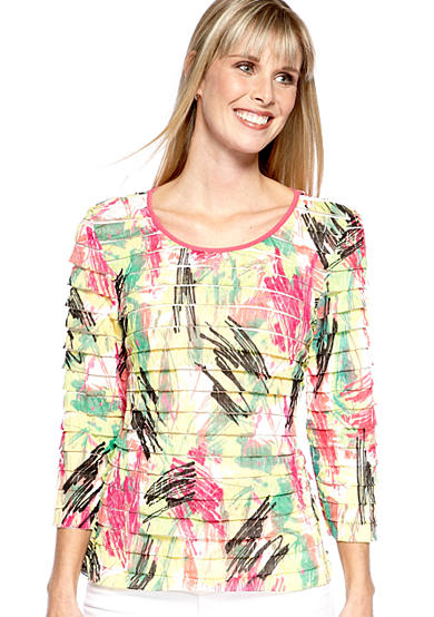 Kim Rogers® Three Quarter Sleeve Printed Eyelash Pullover