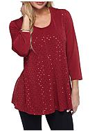 Kim Rogers® Three Quarter Sleeve Sparkle Knit