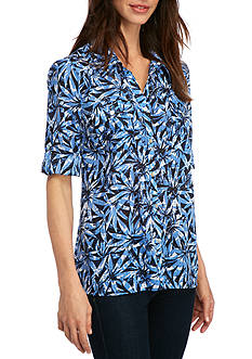 Kim Rogers 3/4 Sleeve Palm Printed Blouse