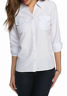 Kim Rogers Y Neck 3/4 Sleeve Solid Utility Shirt
