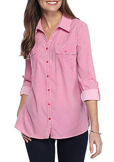 Kim Rogers Y Neck 3/4 Sleeve Stripe Utility Shirt