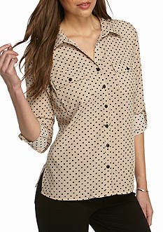 Kim Rogers Y Neck 3/4 Sleeve Button Front Utility Shirt