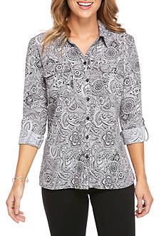 Kim Rogers Y-Neck Utility Paisley-Print Shirt